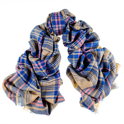Blue and Mustard Oversized Check Cashmere Scarf