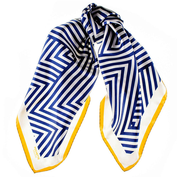 Navy and White Geometric Italian Silk Square Scarf