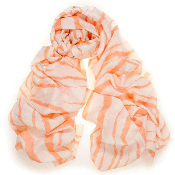 Canteloupe and Cream Zebra Print Silk and Wool Scarf