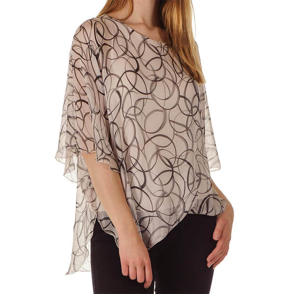 Valentina  - Blush and Black Silk Kaftan Top