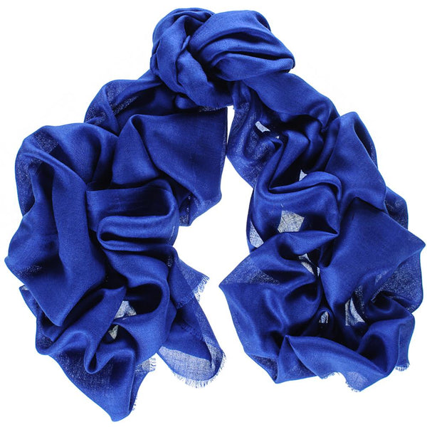 Bright Sapphire Blue Cashmere and Silk Wrap