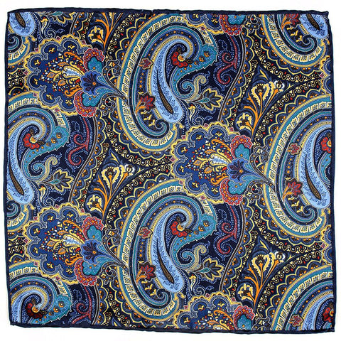 Nemi Italian Silk Satin Paisley Pocket Square