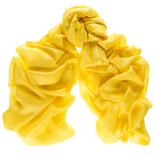 Bright Acid Yellow Cashmere and Silk Wrap
