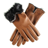 Tan and Black Rabbit Fur Lined Leather Gloves