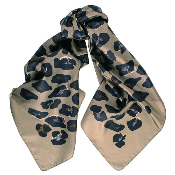 Taupe and Black Leopard Print Silk Scarf