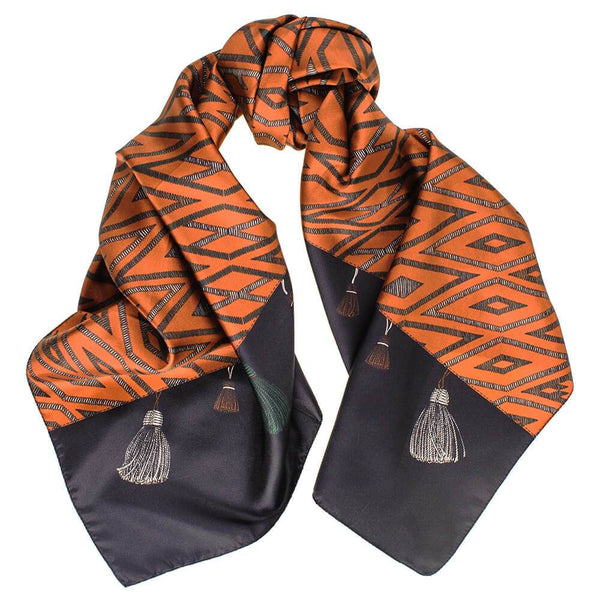 Black and Copper Flying Carpet Silk Scarf
