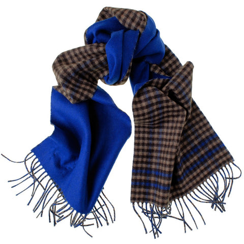 Brown Check and Blue Reversible Cashmere Scarf