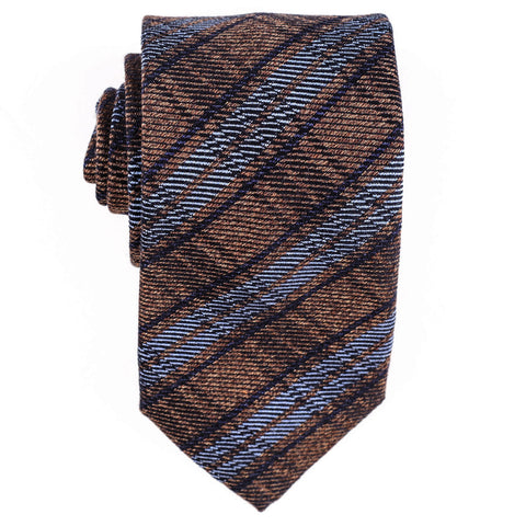 Otranto Brown and Blue Silk and Wool Tie