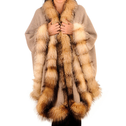 Cashmere, Wool and Fox Fur Cape