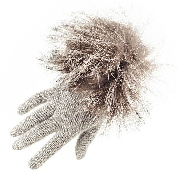 Grey Cashmere and Fox Fur Gloves