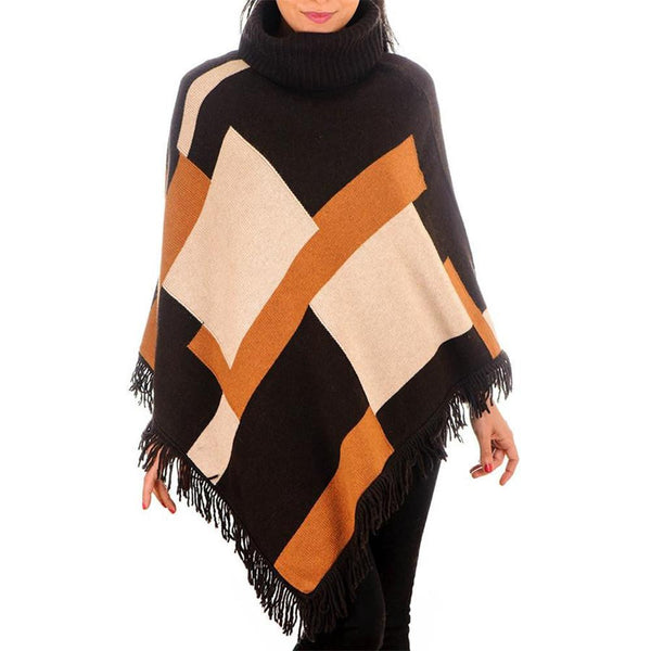 Geometric Cashmere and Wool Poncho