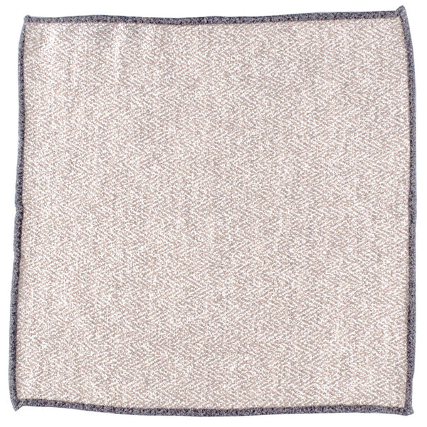 Brown and Biscuit Wool and Silk Pocket Square