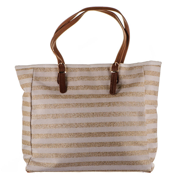 Natural and Gold Striped Canvas Beach Bag