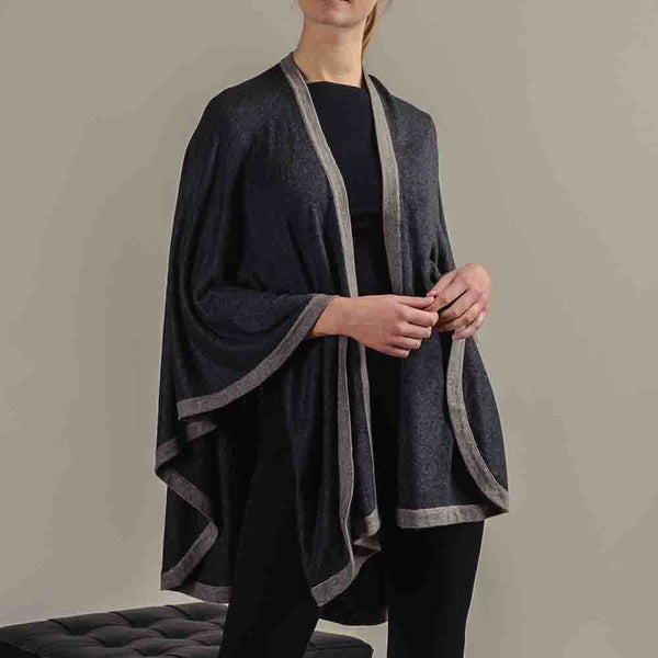Charcoal Grey and Taupe Wool Cape