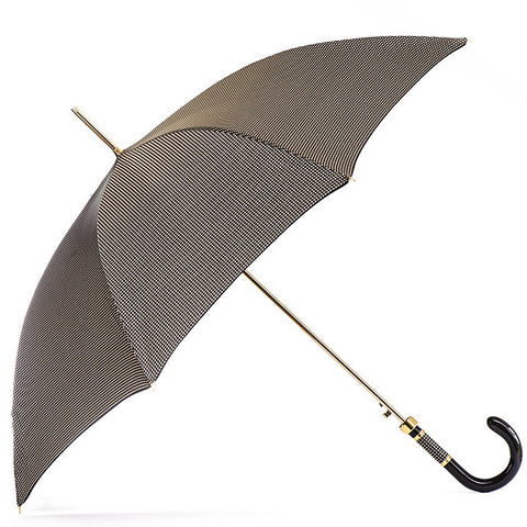 Chocolate Brown and White Houndstooth Luxury Umbrella