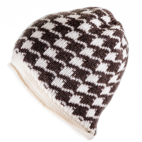Brown and Ivory Houndstooth Cashmere Beanie