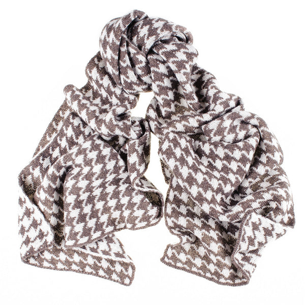 Brown and Ivory Houndstooth Cashmere Knitted Scarf