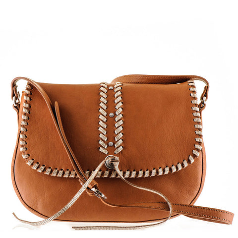 Embellished Tan Calf Leather Messenger Bag