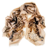 Cream Cashmere and Silk Leopard Print Scarf