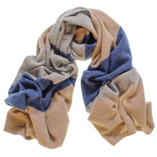 Navy, Brown and Grey Cashmere Scarf