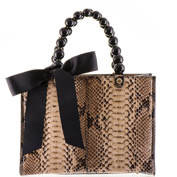 Coffee and Latte Python Shoulder Bag