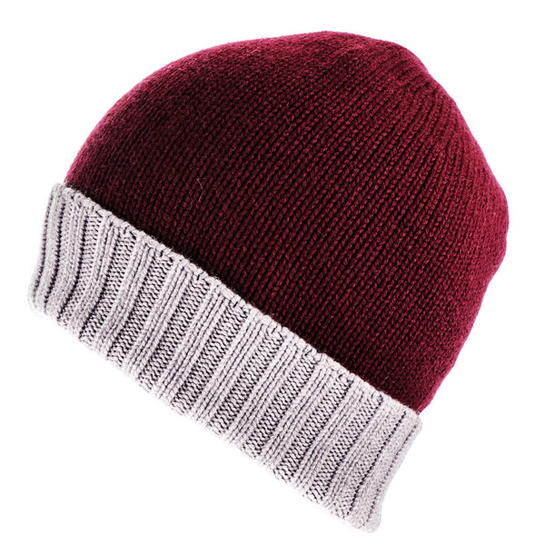 Burgundy and Natural Cashmere Beanie
