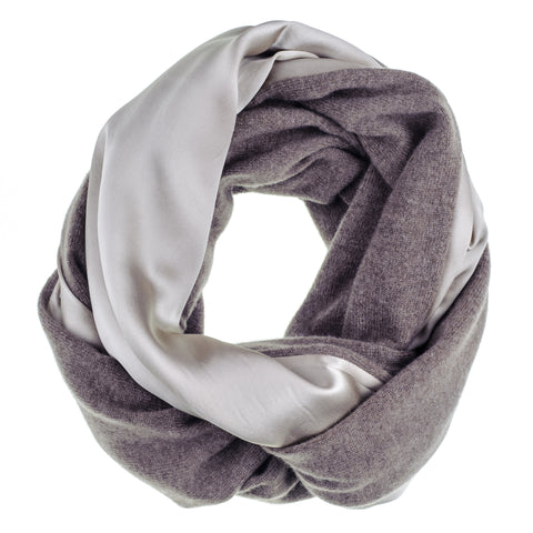 Double Size Champagne Silk and Soft Brown Cashmere Snood