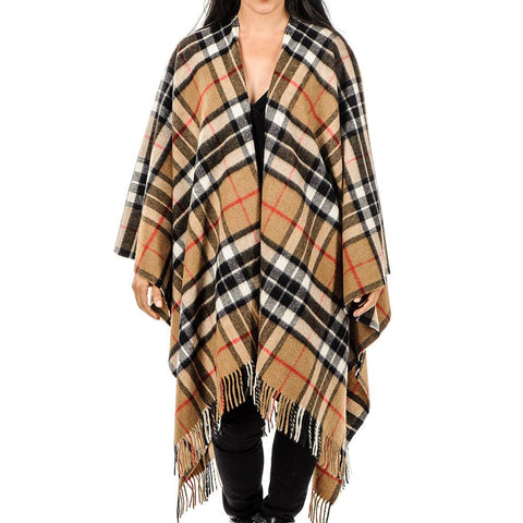 Camel Thompson Tartan Pure Merino Wool Cape