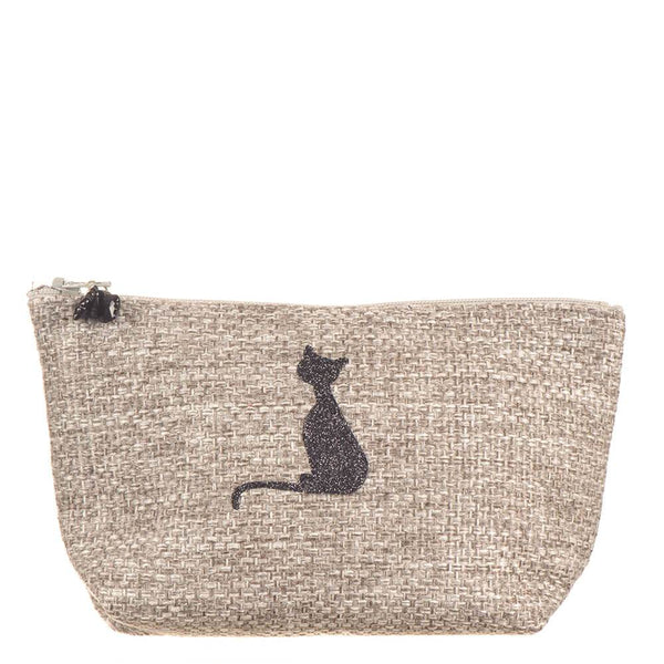 Grey Tweed 'Pussy Cat ' Make Up Bag