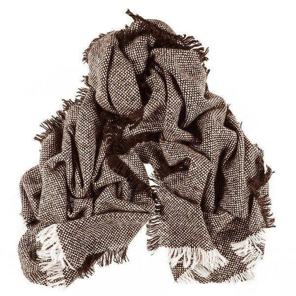Brown and White Large Fringed Cashmere Scarf