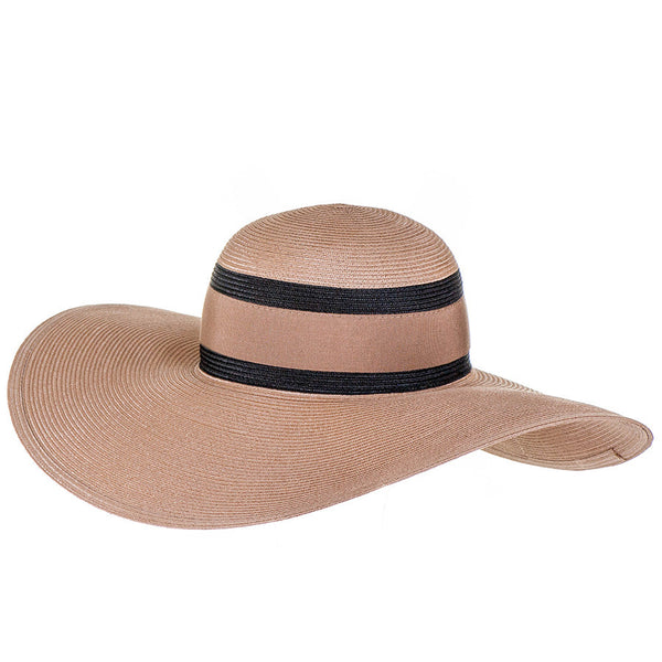 Sand and Black Wide Brimmed Hat