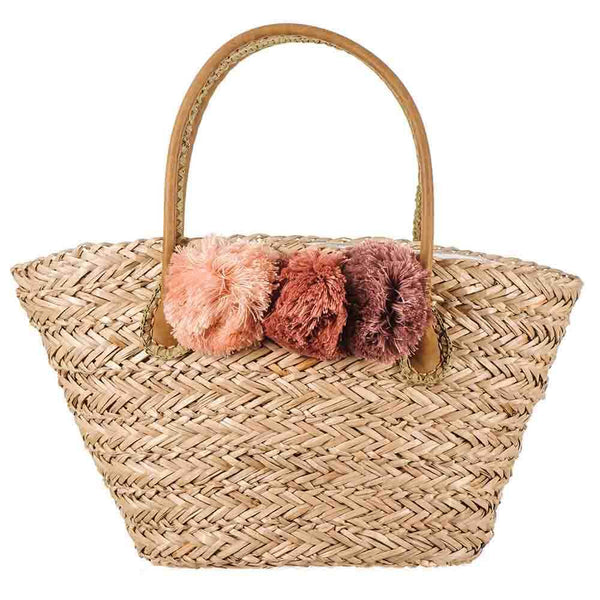 Rose Pom Pom Natural Straw Tote Bag