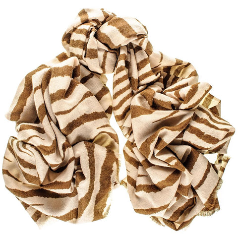 Coffee and Cream Zebra Print Silk and Merino Wool Scarf