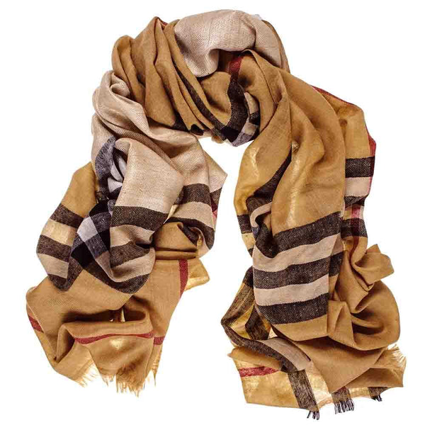 Camel and Khaki Cashmere Stole