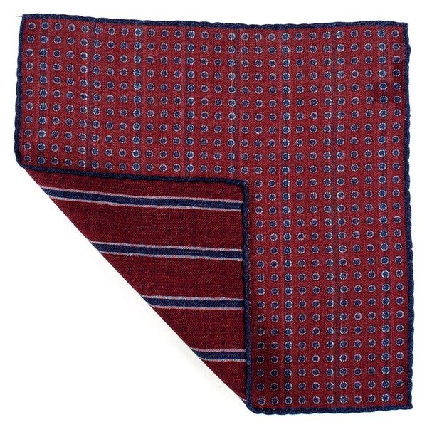 Burgundy and Blue Reversible Wool Pocket Square