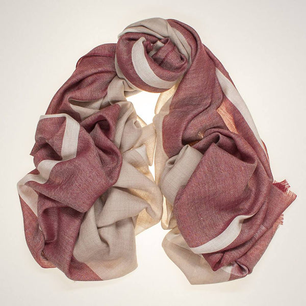 Newman Burgundy and Beige Silk and Wool Scarf