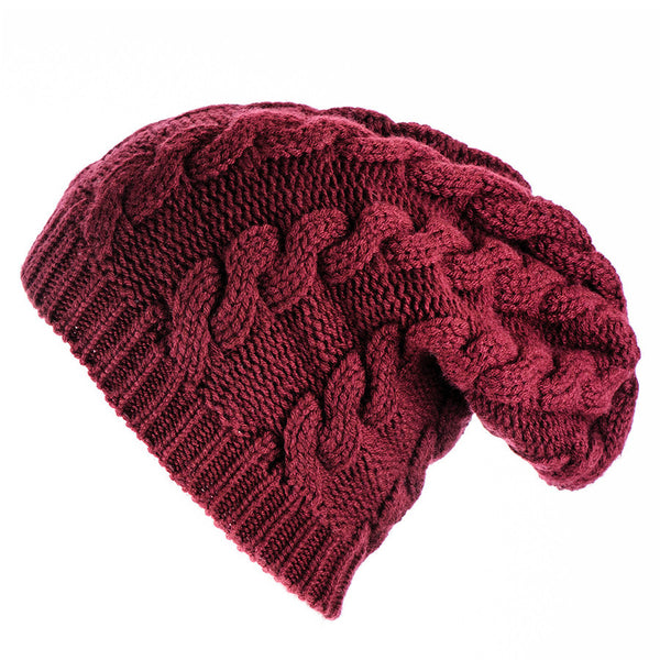 Burgundy Cable Knit Cashmere Slouch Beanie