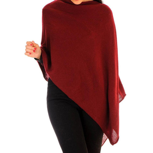Burgundy Knitted Cashmere Poncho