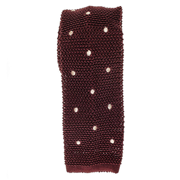 Burgundy Polka Dot Knitted Silk Tie