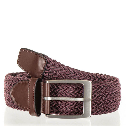 Burgundy Italian Wool and Leather Trimmed Woven Belt