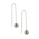 Calpurnia Tahitian Black pearl Earrings