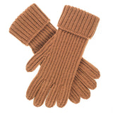 Men's Camel Rib Knit Cashmere Gloves