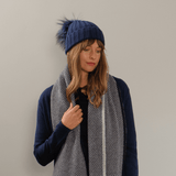 Light Taupe Cashmere and Fur Pom Pom Beanie