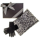 Leopard Print  Scarf and Black Cashmere Gloves Gift Set