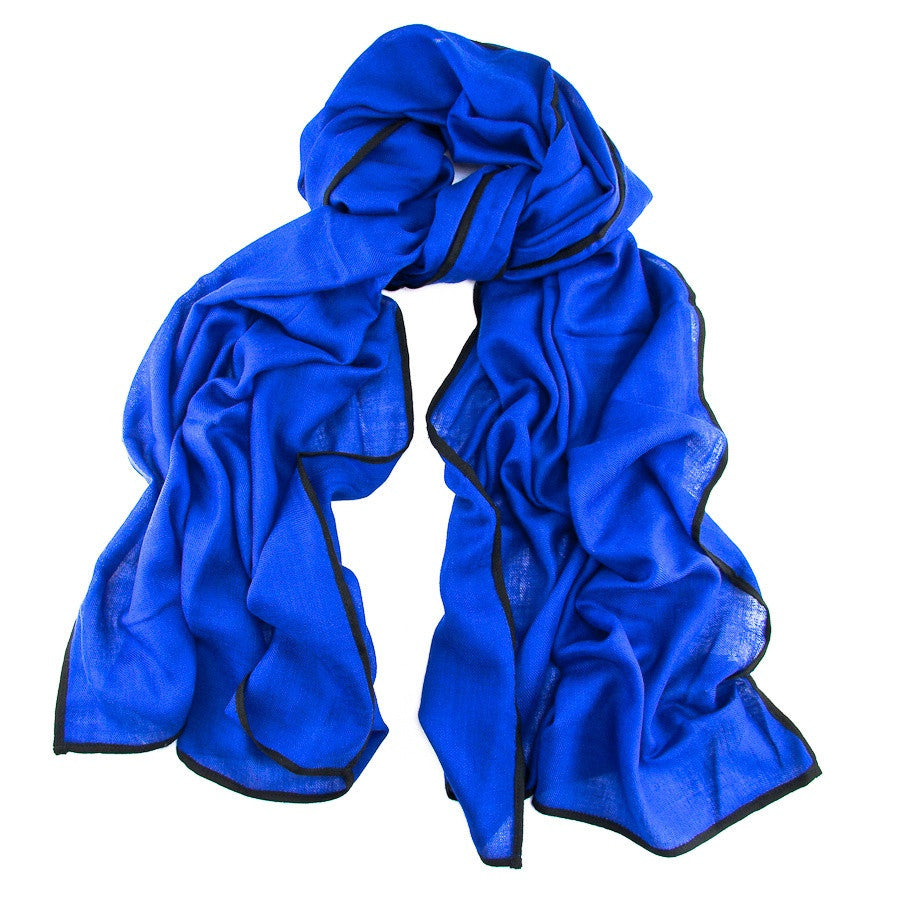 Trinity Blue and Black Cashmere and Silk Scarf