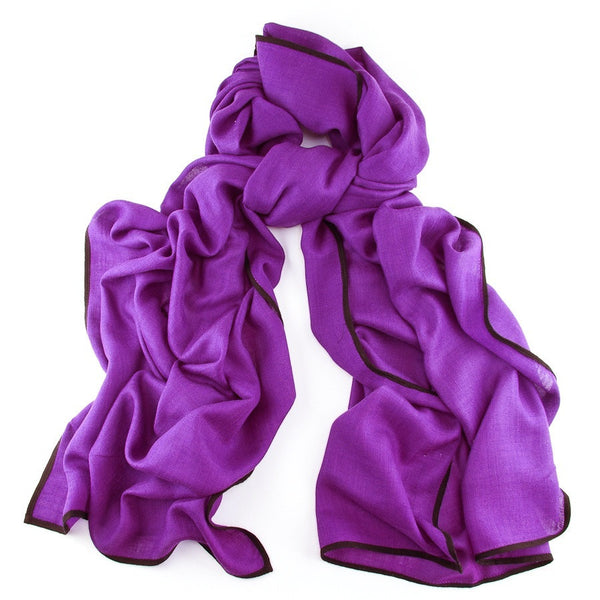 Bleeker Purple and Black Scarf - Cashmere and Silk