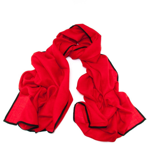 Vestry Red and Black Scarf - Cashmere and Silk