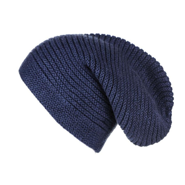 Midnight Navy Blue Rib Knit Cashmere Slouch Beanie