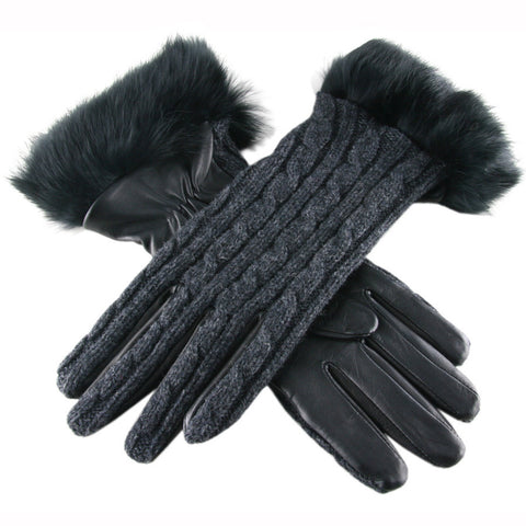 Ladies' Cashmere and Leather Gloves with Rabbit Fur Cuff