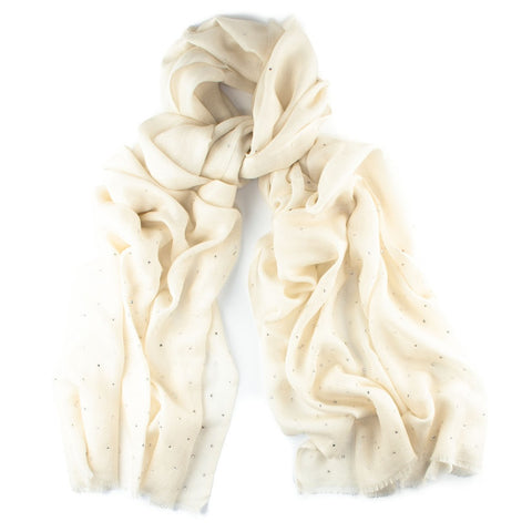 Cream Swarovski Crystal Scattered Wrap in Cashmere and Silk
